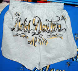 airbrush lettering on cheer shorts