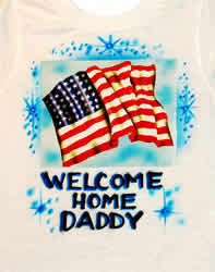 Welcome home US airbrush t-shirt