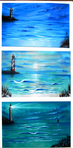 Lighthouse beach scenes airbrushed on canvas