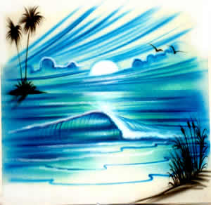 Blue wave airbrush t-shirt