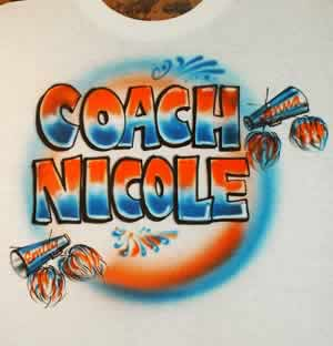 airbrush t-shirt for cheerleader coach