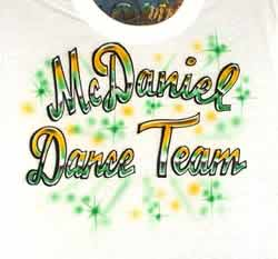 Airbrush t-shirt with dance team name