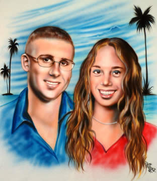 Airbrush double portrait of couple with beach scene