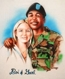 Airbrush portrait of soldier and girlfriend