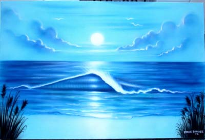 Blue ocean beach scene on canvas