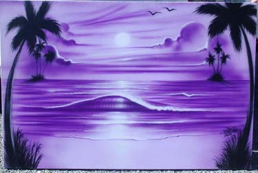 Purple ocean beach scene on canvas