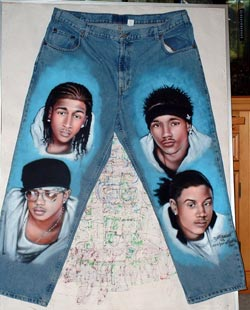 B2K portraits on denim jeans