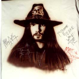 the Cult autographed airbrush t-shirt