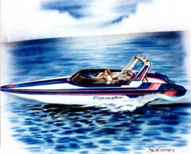 boat airbrushed on t-shirt