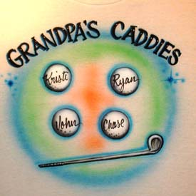 Golf theme for Gradnfather airbrush t-shirt