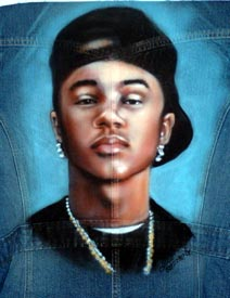 airbrush portrait denim jacket