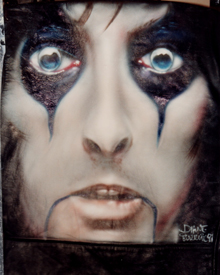 airbrush leather jacket Alice Cooper portrait