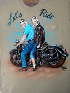 Airbrush portrait with motorcycle