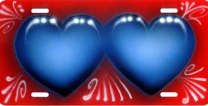 airbrush license plate hearts