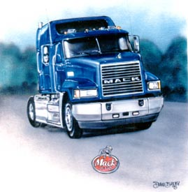 airbrush tractor trailer truck on t-shirt