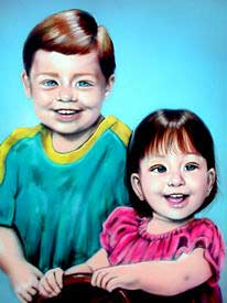 Two children airbrushed on canvas