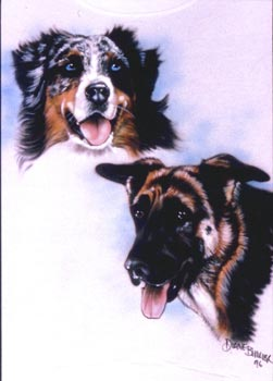 Two dogs airbrush t-shirt