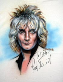 Rod Stewart autographed airbrush t-shirt