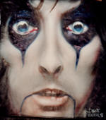 leather jacket with airbrush portrait of Alice Cooper